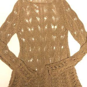 Anthropology open knit crochet sweater medium